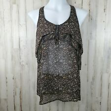 Mossimo Womens Tank Top M Brown Sheer Teired Racerback CZ8