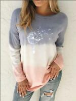 Women Long Sleeve Gradient Printing T-shirt Ladies Casual Tops Blouse Pullover