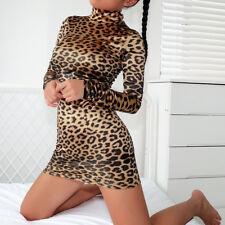 Women Sexy Hip Turtleneck Long Sleeve Leopard Dress Sheath Mini Casual Dress USA