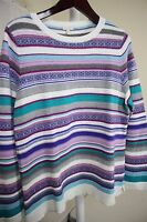 Talbots Wool Blend Multi-Colored Striped Crew-neck Sweater Size - PXL