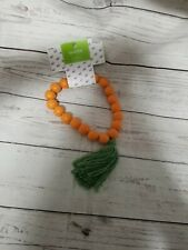 Orange Easter Carrot Wood Beaded Garland for Tiered Tray Decor