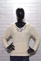 Maglione con Cappuccio Donna Taglia L Cardigan Sweater Caldo colore Avorio Felpa