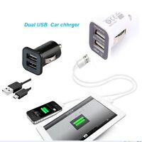 3.1A DOPPIA USB 2 PORTE DC adattatore caricabatteria per auto con micro cavo USB