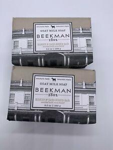 Lot Of 2 NEW Beekman 1802 Goat Milk Soap Large 9oz Each Bar - Honey & Oats
