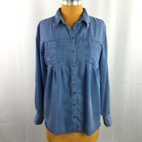 Style & Co Womens Top Denim Chambray Relaxed Pleated Roll Tab Sleeve Size M