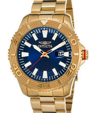New Mens Invicta 22406 Blue Dial Yellow Gold Tone Watch