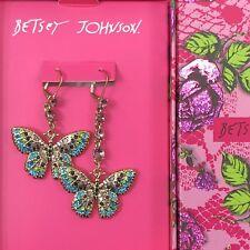 Betsey Johnson Mismatch Earrings Butterfly Multi Pave Crystal Drop