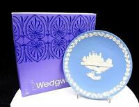 "WEDGWOOD JASPERWARE BLUE CHRISTMAS 8"" TOWER OF LONDON PLATE ORIGINAL BOX 1973"