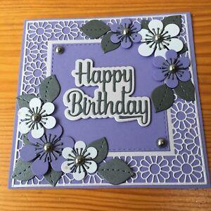 Handmade Happy Birthday card pretty 3d lilac,purple & grey flowers with pearls