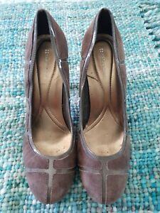NATURALIZER Grey Suede Patent Leather High Heels Stilettos Size 8.5W C35