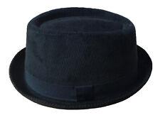 Unisex Black Corduroy Pork Pie Cord Porkpie Trilby Hat