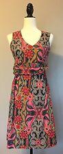 PRANA Floral Dress Medium Built In Bra Pink Orange Black, Sleeveless