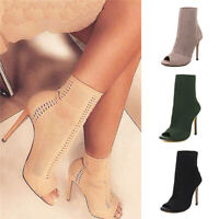 Ladies Hollow-Out Knit Sock Ankle Boots Womens Peep Toe Pull On Stiletto Shoes