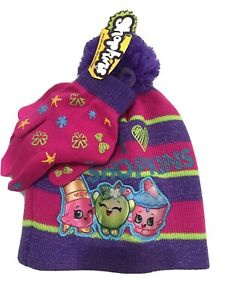 Brand New Shopkins Pink Girl's Pom Pom HAT w GLOVES age 4 – 10