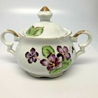Vintage Sugar Bowl w/Lid Purple Violets Floral Design Gold Trim w/Flaw
