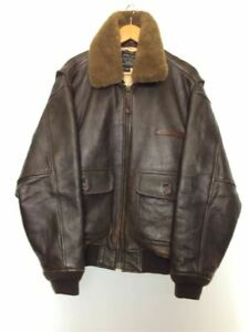 AVIREX Authentic Type G-1 Leather Bomber Flight Jacket Brown M Used from Japan