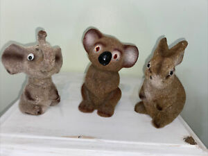 3 Vintage Flocked Coin Banks - Rabbit, Elephant, Koala
