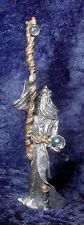 Pewter Wizard holding Long Staff with Crystal Accents - Satin Finish
