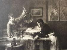 Les bulles de savon Joseph Bail lithographie Dubois-Menant Sté Amis Arts fin XIX