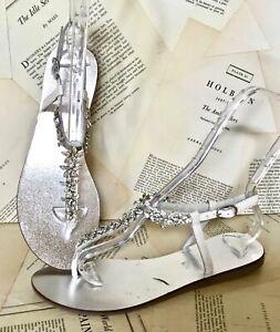 Free People Sandals Jeweled Thong Flat T Straps Wedding Bridal 40/ 9-9.5 NEW