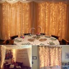 3x3M 300LED Warm White Curtain Window Fairy Waterfall Lights Wedding Party Xmas