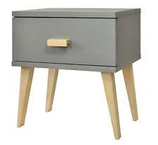 Grey Wooden Bedside Table Scandinavian Design Modern Nightstand with Drawer
