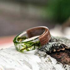 Handmade Wooden Resin Plant Ring Nature Flower Grass Ring Wood Ring Gift