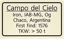 Meteorite label Campo del Cielo