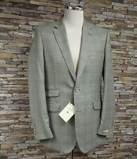 Magee Mens Lightweight 100% Wool Jacket Brown Beige and Blue Check Size 40R New