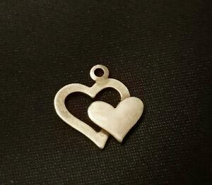 vintage Armbandanhänger Doppelherz Anhänger 925 Sterling Silber zwei Herzen