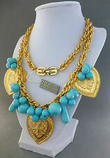 HUGE CHUNKY VINTAGE 70'S GIVENCHY HEART TURQUOISE BEAD GOLD CHAIN NECKLACE NWT
