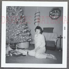 Vintage Photo Pretty Girl w/ Silver Christmas Tree Home Interior 769204