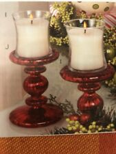 * Home Interiors & Gifts Red Mercury Glass Candleholders Pair Only