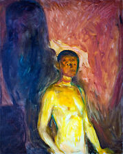Self Portrait in Hell by Edvard Munch A1 High Quality Canvas Print