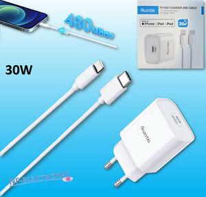 Quntis 30W iPhone iPad Schnellladegerät USB C + 2m Kabel Typ C auf Lightning