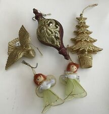Gold Colour Hanging Christmas Decorations Tree Ornament Dove Tree Angels x 5 Lot