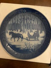 Royal Copenhagen collectible blue Christmas Plate 1984 with original box