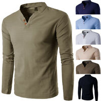 Fashion Men's Long Sleeve Shirts Cotton Slim Tee Shirt Tops Men T Shirts T-shirt