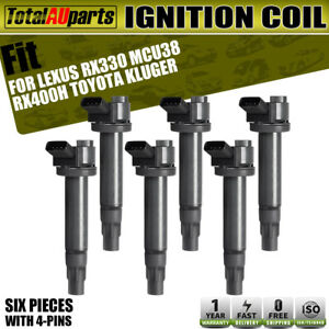 6x Ignition Coil Pack for Toyota Kluger Lexus RX330 RX400H 3.3L 3MZFE 9091902246
