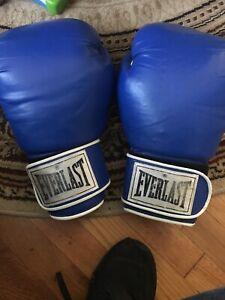 Everlast Size 16 oz Pro Style Training Boxing Gloves - Blue n White