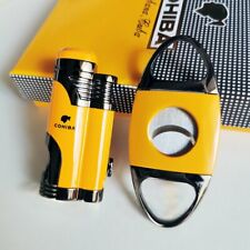 Windproof Metal 2 Torch Jet Flame Cigar lighter and cutter Set with cigar punch