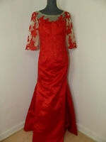 Neues DRESS Cocktailkleid Abendkleid Spitze Gr 38 Rot Tüll 3/4 Arm Pailetten