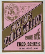 Fred Schiek Finch's Golden Wedding Whiskey Label Minneapolis Minnesota