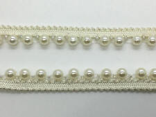 Ivory Pearl Lace Beaded Trimming Vintage Style Trim Wedding Bridal DIY Sewing 2m