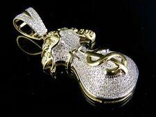 "10K Yellow Gold Genuine Diamond Dollor Money Bag Pendant Charm 3/5 Ct 1.5"""