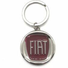 Fiat 500 Keychain 3-D Key Tag Silver Tone Metal New