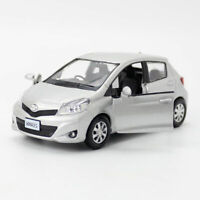 1:36 Scale Toyota Yaris Model Car Diecast Gift Toy Vehicle Kids Pull Back Silver