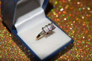 9ct Yellow Gold Bi-Colour Emerald Shaped Cut Ring with Diamonds On Shoulders