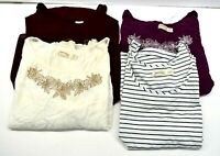 Lot Of 4 Faded Glory Womens Large Short Sleeve Plain Basic Graphic Summer Tees
