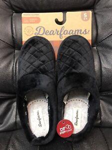 Womens Slippers Dearfoams STEPFOAM Memory Foam Black Velour S 5-6